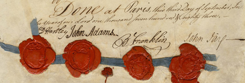 Treaty of Paris (1783), signed by David Hartley, John Adams, Benjamin Franklin and John Jay.