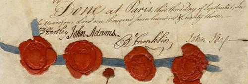 Treaty of Paris (1783), signed by David Hartley, John Adams, Benjamin Franklin and John Jay.
