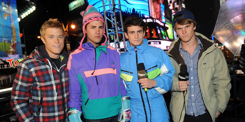 "The cast of ""The Buried Life"" at MTV's New Year's Eve celebration in Times Square. (Scott Gries/PictureGroup/AP)"